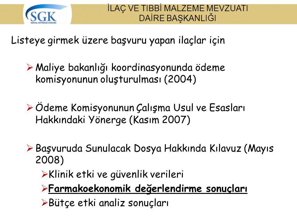 Listeye girmek üzere başvuru yapan ilaçlar için  Maliye bakanlığı koordinasyonunda ödeme komisyonunun oluşturulması (2004)  Ödeme Komisyonunun Çalış