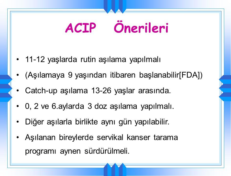 ACIP Önerileri 11-12 yaşlarda rutin aşılama yapılmalı (Aşılamaya 9 yaşından itibaren başlanabilir[FDA]) Catch-up aşılama 13-26 yaşlar arasında. 0, 2 v