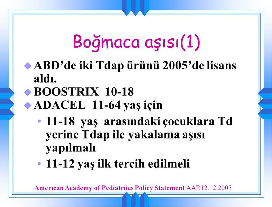 Boğmaca aşısı(1) u ABD'de iki Tdap ürünü 2005'de lisans aldı. u BOOSTRIX 10-18 u ADACEL 11-64 yaş için 11-18 yaş arasındaki çocuklara Td yerine Tdap i