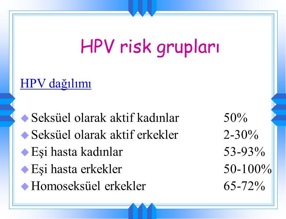 HPV risk grupları HPV dağılımı u Seksüel olarak aktif kadınlar50% u Seksüel olarak aktif erkekler2-30% u Eşi hasta kadınlar53-93% u Eşi hasta erkekler