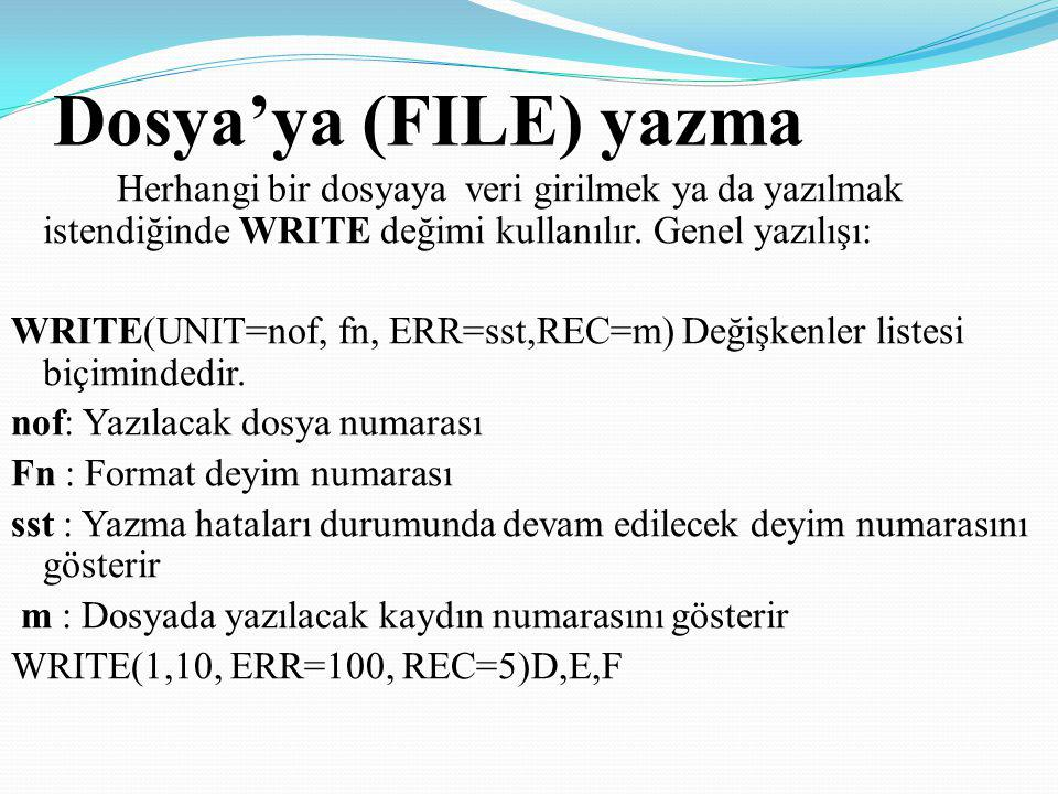 Dosya'ya (FILE) yazma Herhangi bir dosyaya veri girilmek ya da yazılmak istendiğinde WRITE değimi kullanılır. Genel yazılışı: WRITE(UNIT=nof, fn, ERR=