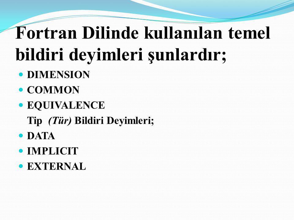 Fortran Dilinde kullanılan temel bildiri deyimleri şunlardır; DIMENSION COMMON EQUIVALENCE Tip (Tür) Bildiri Deyimleri; DATA IMPLICIT EXTERNAL