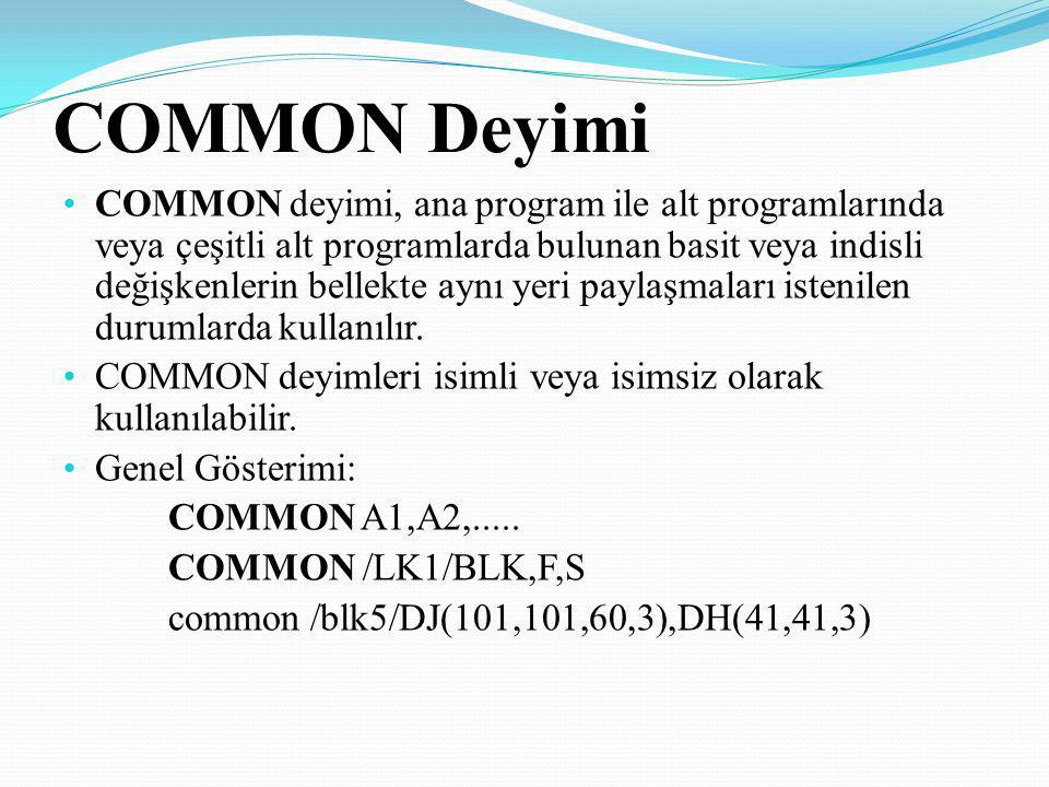 COMMON Deyimi COMMON deyimi, ana program ile alt programlarında veya çeşitli alt programlarda bulunan basit veya indisli değişkenlerin bellekte aynı y