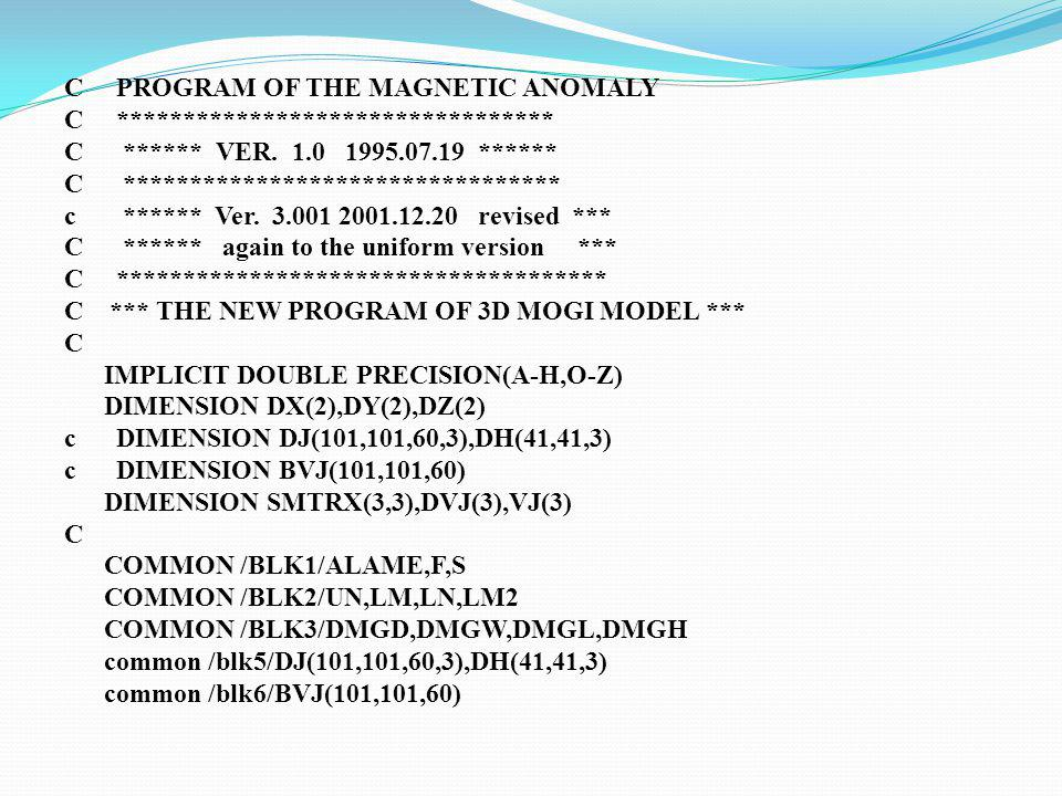 C PROGRAM OF THE MAGNETIC ANOMALY C ********************************* C ****** VER.