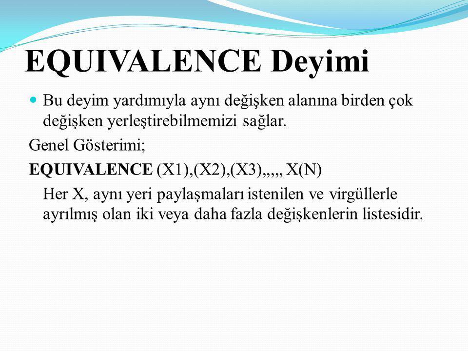 EQUIVALENCE Deyimi Bu deyim yardımıyla aynı değişken alanına birden çok değişken yerleştirebilmemizi sağlar. Genel Gösterimi; EQUIVALENCE (X1),(X2),(X