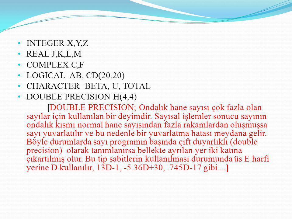 INTEGER X,Y,Z REAL J,K,L,M COMPLEX C,F LOGICAL AB, CD(20,20) CHARACTER BETA, U, TOTAL DOUBLE PRECISION H(4,4) [DOUBLE PRECISION; Ondalık hane sayısı ç