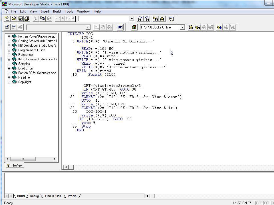 Yardımcı Bellek (Dosya(FILE)) Kullanımı Giriş – Çıkış deyimleri, bilgisayarın merkez işlem birimi ile dış ortam , ve/veya yardımcı bellek birimleri arasında bilgi alışverişini sağlayan deyimlerdir.