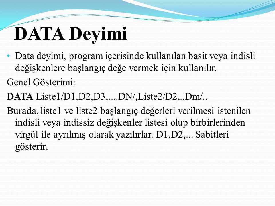 DATA Deyimi Data deyimi, program içerisinde kullanılan basit veya indisli değişkenlere başlangıç değe vermek için kullanılır. Genel Gösterimi: DATA Li