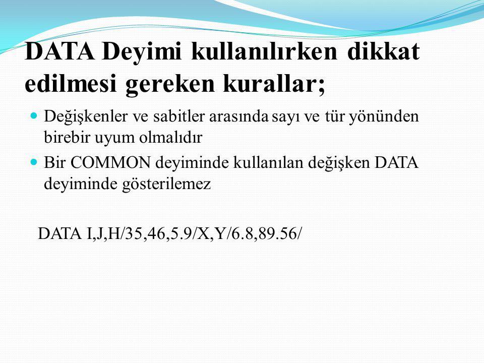 DATA Deyimi kullanılırken dikkat edilmesi gereken kurallar; Değişkenler ve sabitler arasında sayı ve tür yönünden birebir uyum olmalıdır Bir COMMON de