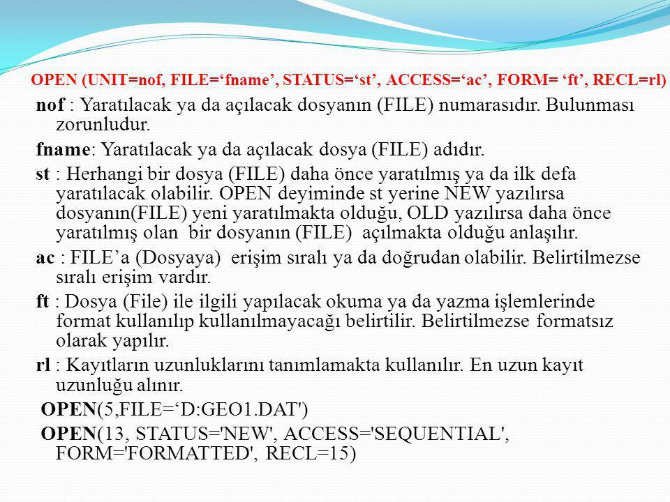 nof : Yaratılacak ya da açılacak dosyanın (FILE) numarasıdır. Bulunması zorunludur. fname: Yaratılacak ya da açılacak dosya (FILE) adıdır. st : Herhan