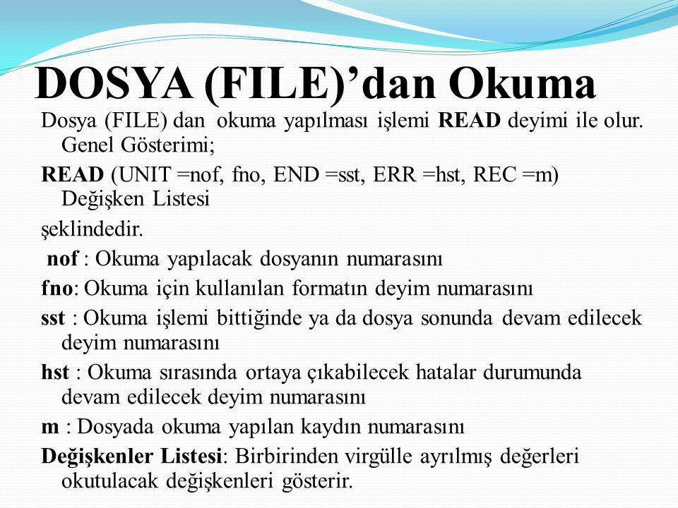 DOSYA (FILE)'dan Okuma Dosya (FILE) dan okuma yapılması işlemi READ deyimi ile olur. Genel Gösterimi; READ (UNIT =nof, fno, END =sst, ERR =hst, REC =m