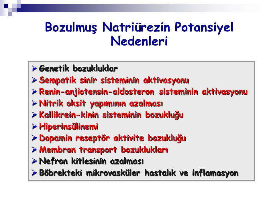 Bozulmuş Natriürezin Potansiyel Nedenleri  Genetik bozukluklar  Sempatik sinir sisteminin aktivasyonu  Renin-anjiotensin-aldosteron sisteminin akti