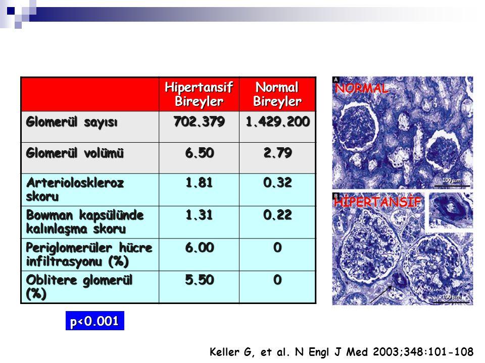 Hipertansif Bireyler Normal Bireyler Glomerül sayısı 702.3791.429.200 Glomerül volümü 6.502.79 Arterioloskleroz skoru 1.810.32 Bowman kapsülünde kalın