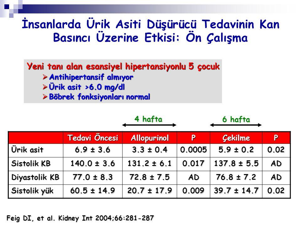 İnsanlarda Ürik Asiti Düşürücü Tedavinin Kan Basıncı Üzerine Etkisi: Ön Çalışma Tedavi Öncesi AllopurinolPÇekilmeP Ürik asit 6.9 ± 3.6 3.3 ± 0.4 0.000