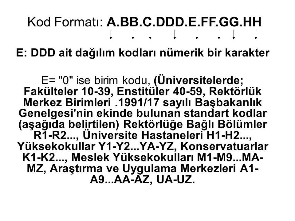 E: DDD ait dağılım kodları nümerik bir karakter E=