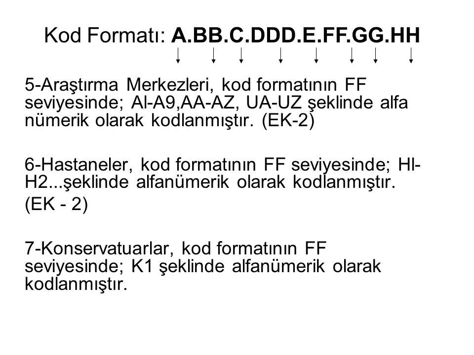 5-Araştırma Merkezleri, kod formatının FF seviyesinde; Al-A9,AA-AZ, UA-UZ şeklinde alfa nümerik olarak kodlanmıştır. (EK-2) 6-Hastaneler, kod formatın