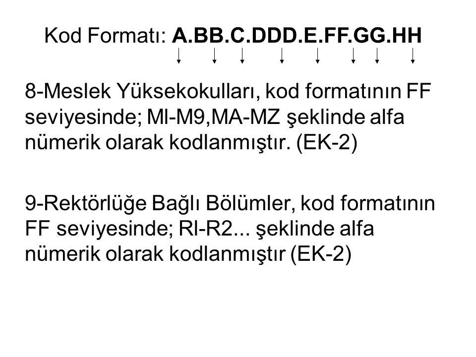 8-Meslek Yüksekokulları, kod formatının FF seviyesinde; Ml-M9,MA-MZ şeklinde alfa nümerik olarak kodlanmıştır. (EK-2) 9-Rektörlüğe Bağlı Bölümler, kod