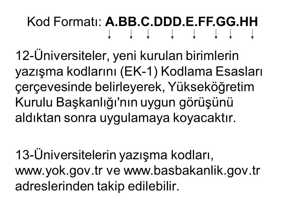 12-Üniversiteler, yeni kurulan birimlerin yazışma kodlarını (EK-1) Kodlama Esasları çerçevesinde belirleyerek, Yükseköğretim Kurulu Başkanlığı'nın uyg