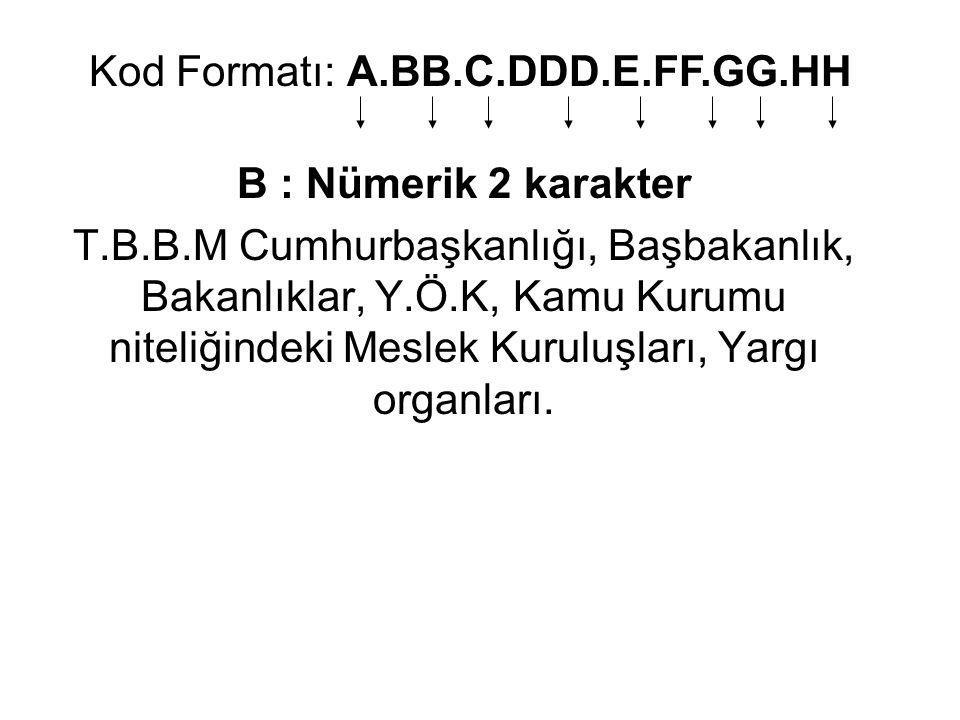 C: BB ye ait dağılım kodları Nümerik 1 karakter 0 Merkez, 1 Sürekli kurul, Bağlı Kuruluş, 2 İlgili Kuruluş, 3 Yurtdışı Teşkilatı, 4 Taşra Teşkilatı, 5 Sorumlu Kuruluş Kod Formatı: A.BB.C.DDD.E.FF.GG.HH