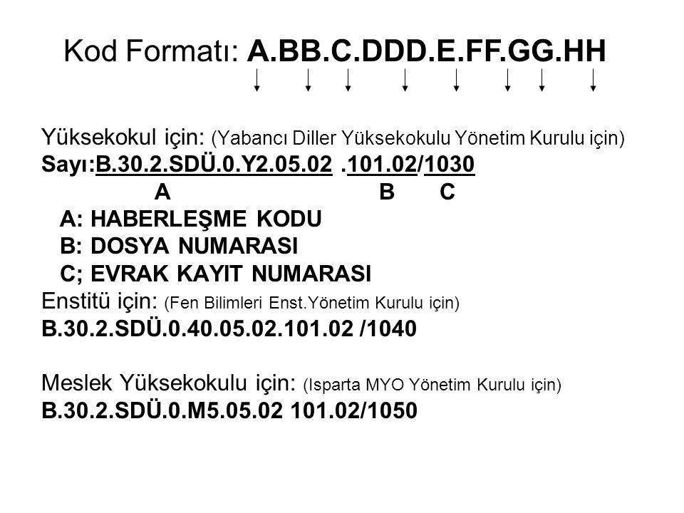 Yüksekokul için: (Yabancı Diller Yüksekokulu Yönetim Kurulu için) Sayı:B.30.2.SDÜ.0.Y2.05.02.101.02/1030 A B C A: HABERLEŞME KODU B: DOSYA NUMARASI C;