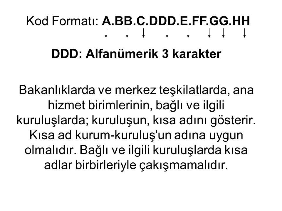 DDD: Alfanümerik 3 karakter Bakanlıklarda ve merkez teşkilatlarda, ana hizmet birimlerinin, bağlı ve ilgili kuruluşlarda; kuruluşun, kısa adını göster
