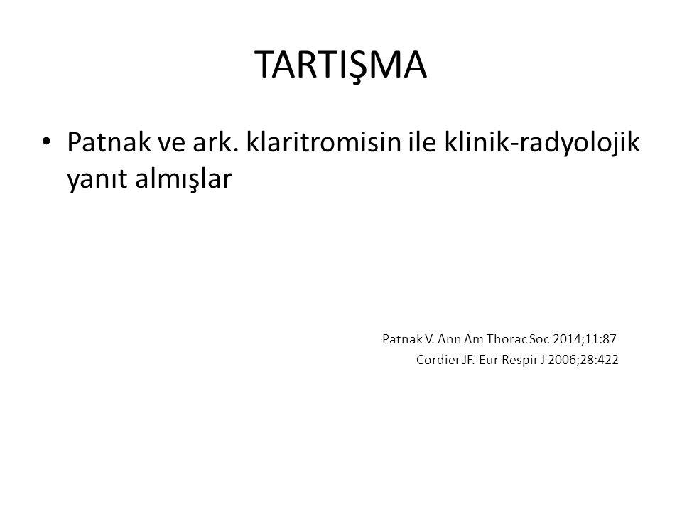 TARTIŞMA Patnak ve ark. klaritromisin ile klinik-radyolojik yanıt almışlar Patnak V. Ann Am Thorac Soc 2014;11:87 Cordier JF. Eur Respir J 2006;28:422