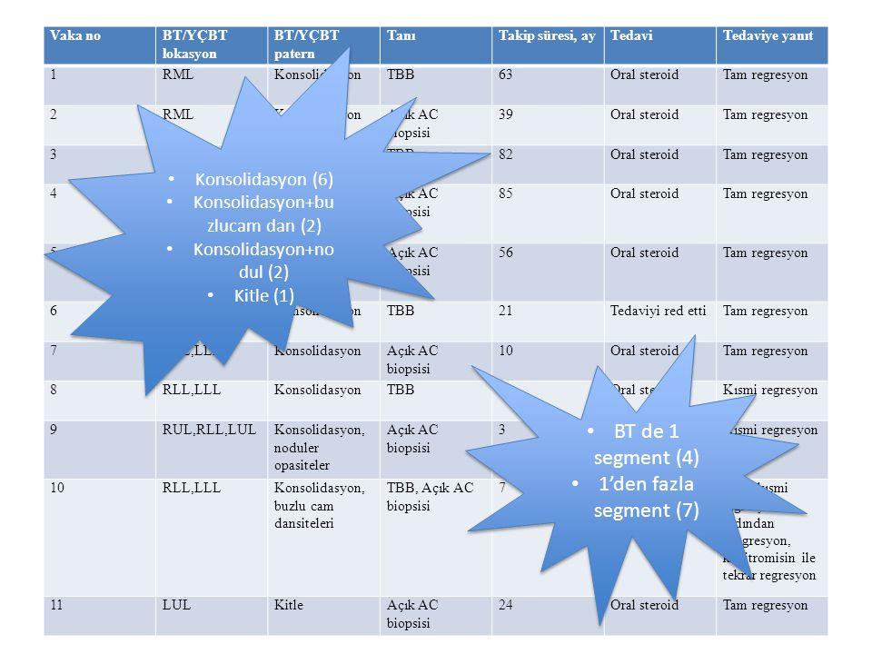 Vaka noBT/YÇBT lokasyon BT/YÇBT patern TanıTakip süresi, ayTedaviTedaviye yanıt 1RMLKonsolidasyonTBB63Oral steroidTam regresyon 2RMLKonsolidasyonAçık