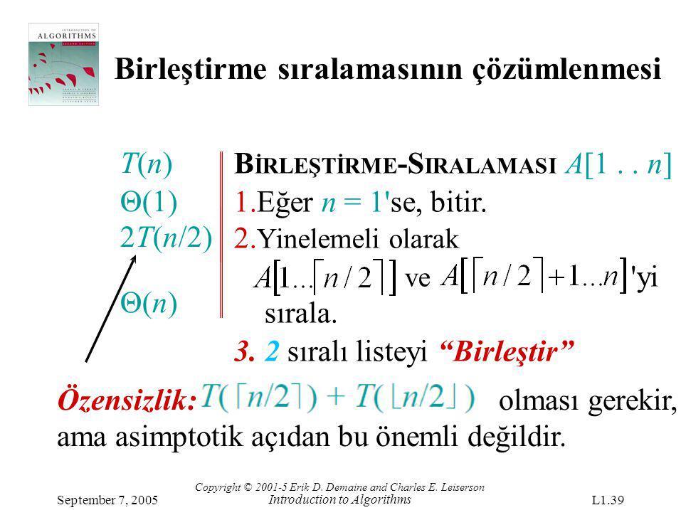 Birleştirme sıralamasının çözümlenmesi B İRLEŞTİRME -S IRALAMASI A[1.. n] 1.Eğer n = 1'se, bitir. 2. Yinelemeli olarak ve 'yi sırala. 3. 2 sıralı list