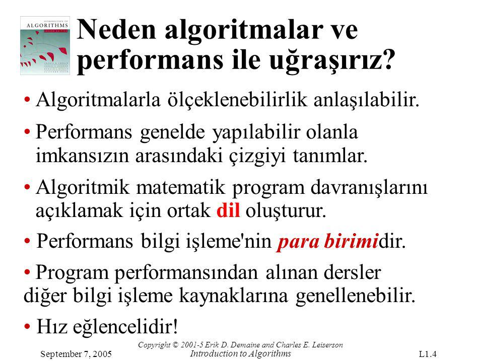 Neden algoritmalar ve performans ile uğraşırız? Copyright © 2001-5 Erik D. Demaine and Charles E. Leiserson Introduction to Algorithms September 7, 20