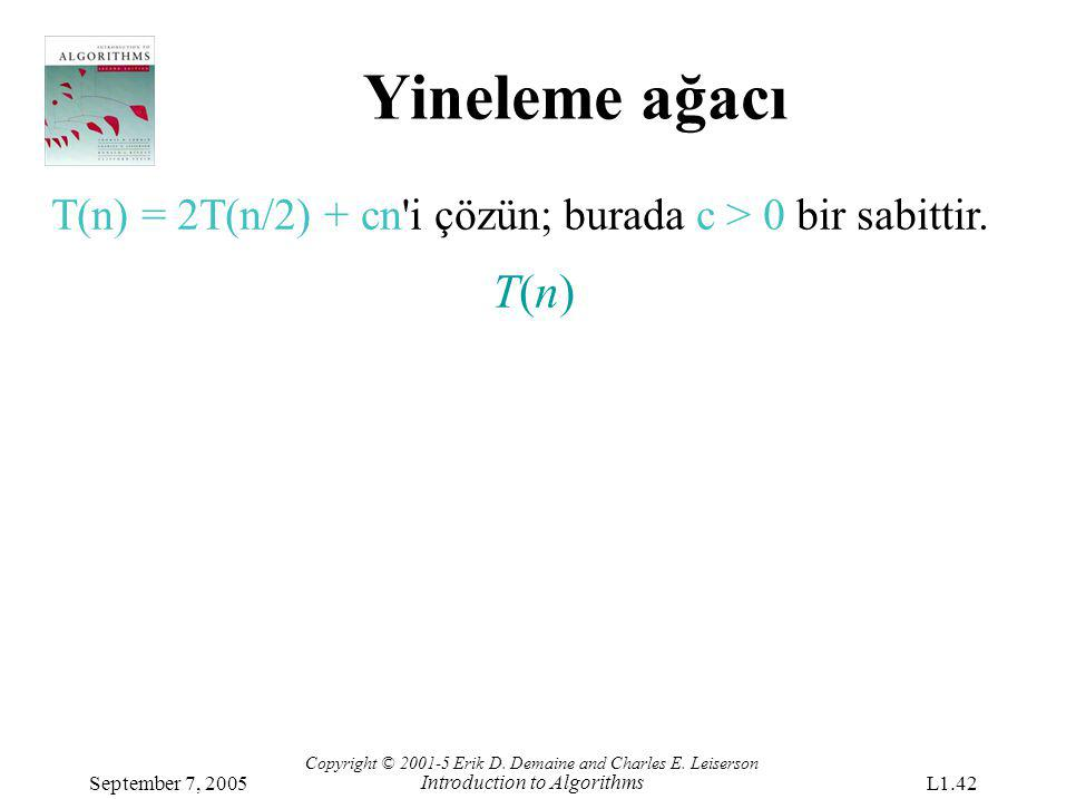 Yineleme ağacı Copyright © 2001-5 Erik D. Demaine and Charles E. Leiserson Introduction to Algorithms September 7, 2005L1.42 T(n) = 2T(n/2) + cn'i çöz