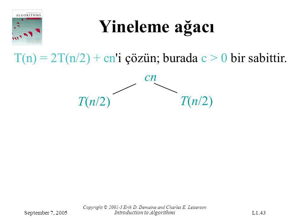 Yineleme ağacı T(n/2) T(n) = 2T(n/2) + cn'i çözün; burada c > 0 bir sabittir. cn Copyright © 2001-5 Erik D. Demaine and Charles E. Leiserson Introduct