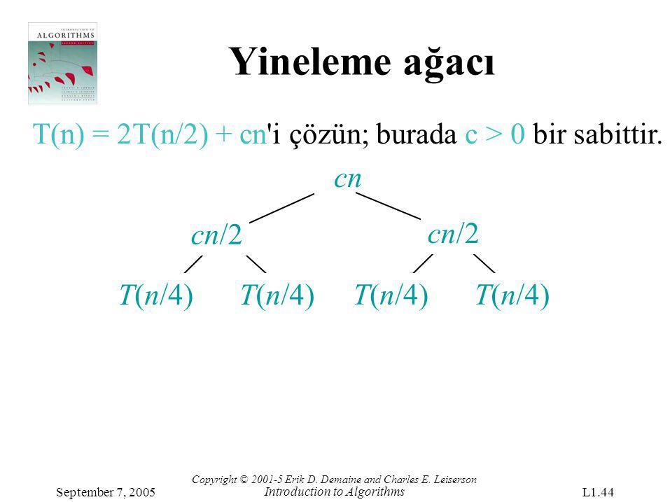 Yineleme ağacı T(n) = 2T(n/2) + cn'i çözün; burada c > 0 bir sabittir. cn T(n/4) cn/2 Copyright © 2001-5 Erik D. Demaine and Charles E. Leiserson Intr