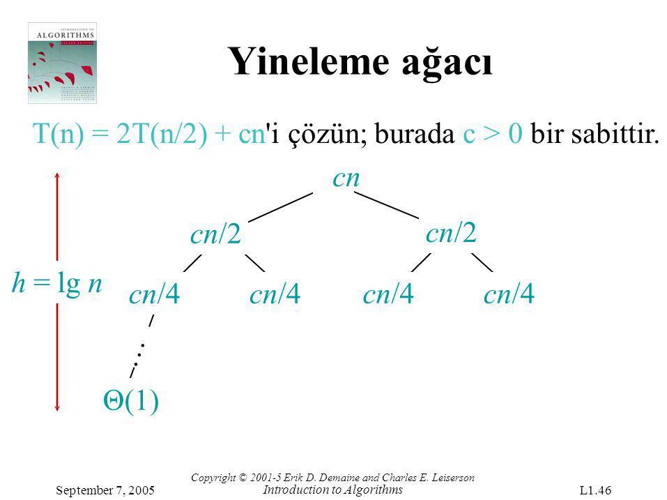 Yineleme ağacı T(n) = 2T(n/2) + cn'i çözün; burada c > 0 bir sabittir. cn cn/4 cn/2 Θ(1) … h = lg nh = lg n Copyright © 2001-5 Erik D. Demaine and Cha
