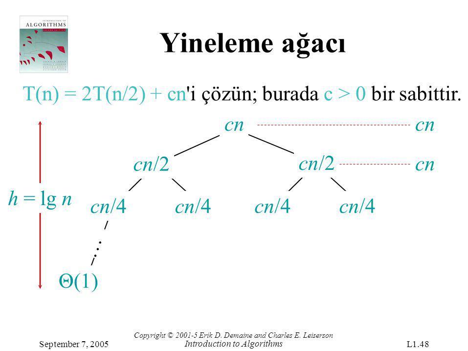 Yineleme ağacı T(n) = 2T(n/2) + cn'i çözün; burada c > 0 bir sabittir. cn/4 cn/2 Θ(1) … h = lg nh = lg n cn Copyright © 2001-5 Erik D. Demaine and Cha