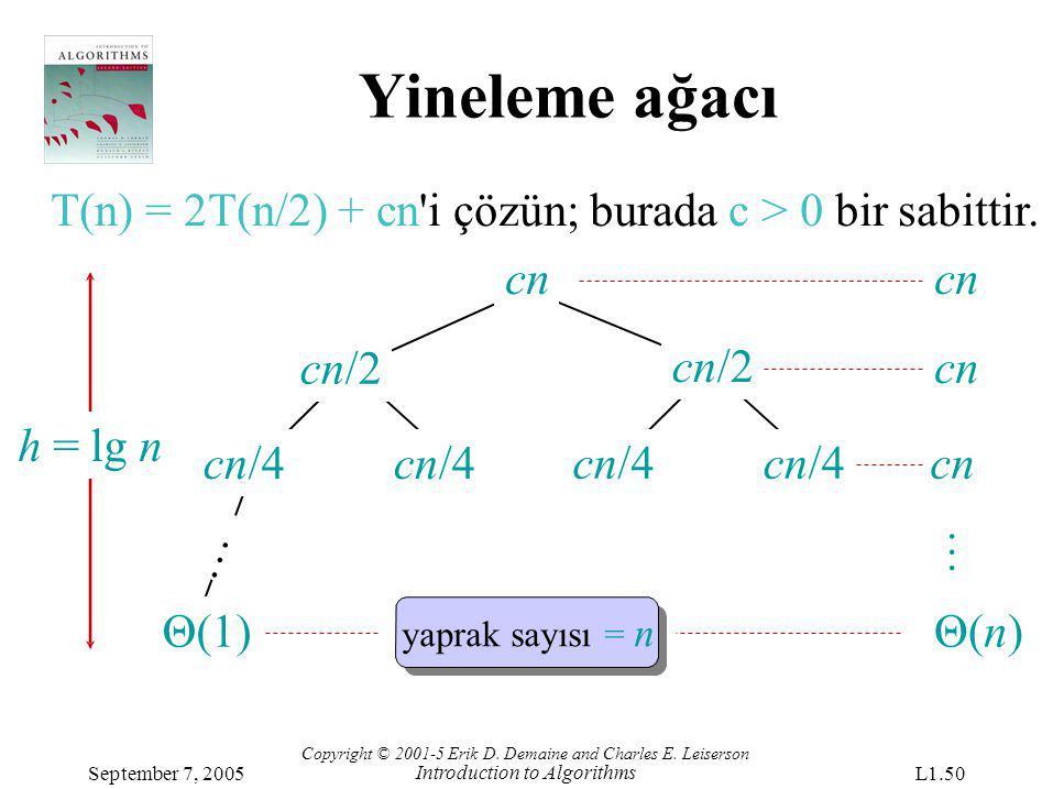 Yineleme ağacı T(n) = 2T(n/2) + cn'i çözün; burada c > 0 bir sabittir. cn/4 Θ(1) … h = lg nh = lg n cn Copyright © 2001-5 Erik D. Demaine and Charles