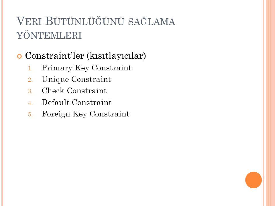 V ERI B ÜTÜNLÜĞÜNÜ SAĞLAMA YÖNTEMLERI Constraint'ler (kısıtlayıcılar) 1. Primary Key Constraint 2. Unique Constraint 3. Check Constraint 4. Default Co