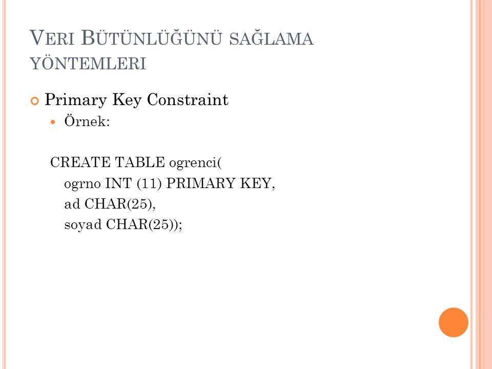 V ERI B ÜTÜNLÜĞÜNÜ SAĞLAMA YÖNTEMLERI Primary Key Constraint Örnek: CREATE TABLE ogrenci( ogrno INT (11) PRIMARY KEY, ad CHAR(25), soyad CHAR(25));