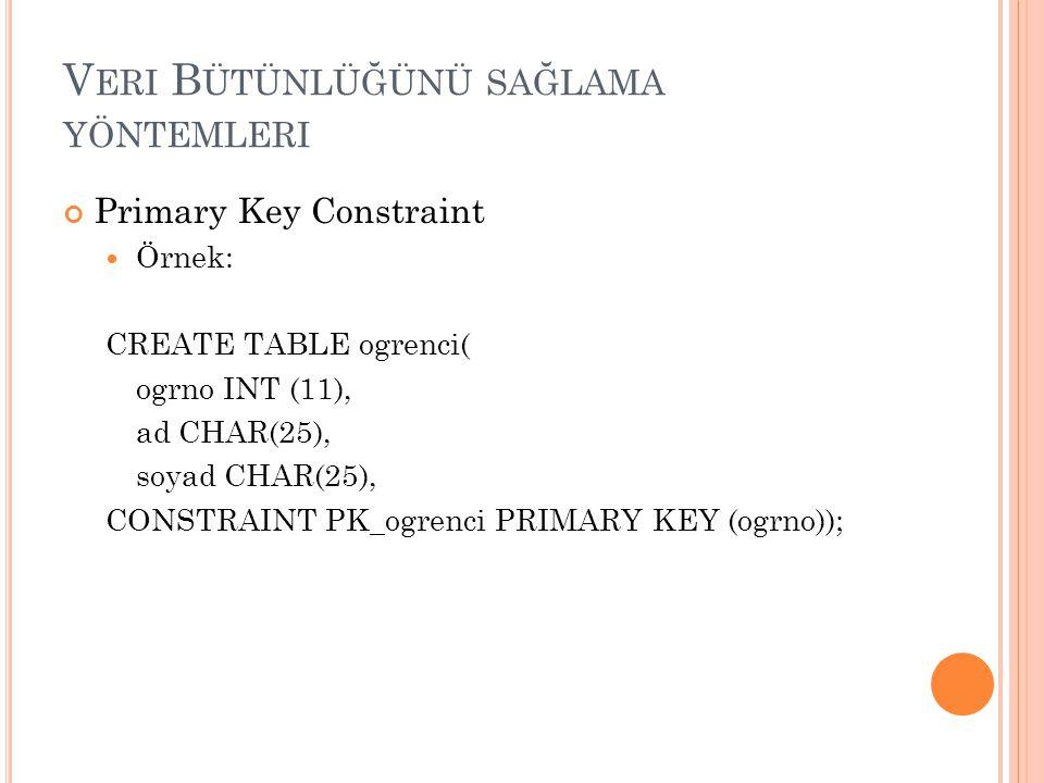 V ERI B ÜTÜNLÜĞÜNÜ SAĞLAMA YÖNTEMLERI Primary Key Constraint Örnek: CREATE TABLE ogrenci( ogrno INT (11), ad CHAR(25), soyad CHAR(25), CONSTRAINT PK_o