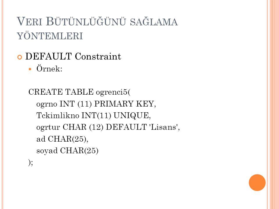 V ERI B ÜTÜNLÜĞÜNÜ SAĞLAMA YÖNTEMLERI DEFAULT Constraint Örnek: CREATE TABLE ogrenci5( ogrno INT (11) PRIMARY KEY, Tckimlikno INT(11) UNIQUE, ogrtur C