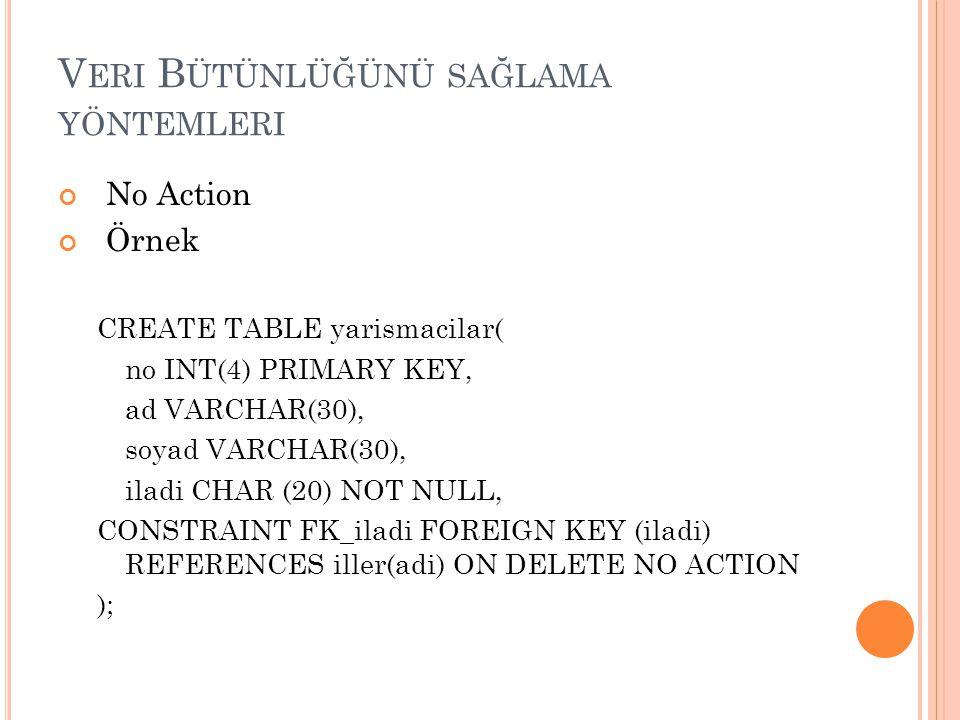 V ERI B ÜTÜNLÜĞÜNÜ SAĞLAMA YÖNTEMLERI No Action Örnek CREATE TABLE yarismacilar( no INT(4) PRIMARY KEY, ad VARCHAR(30), soyad VARCHAR(30), iladi CHAR
