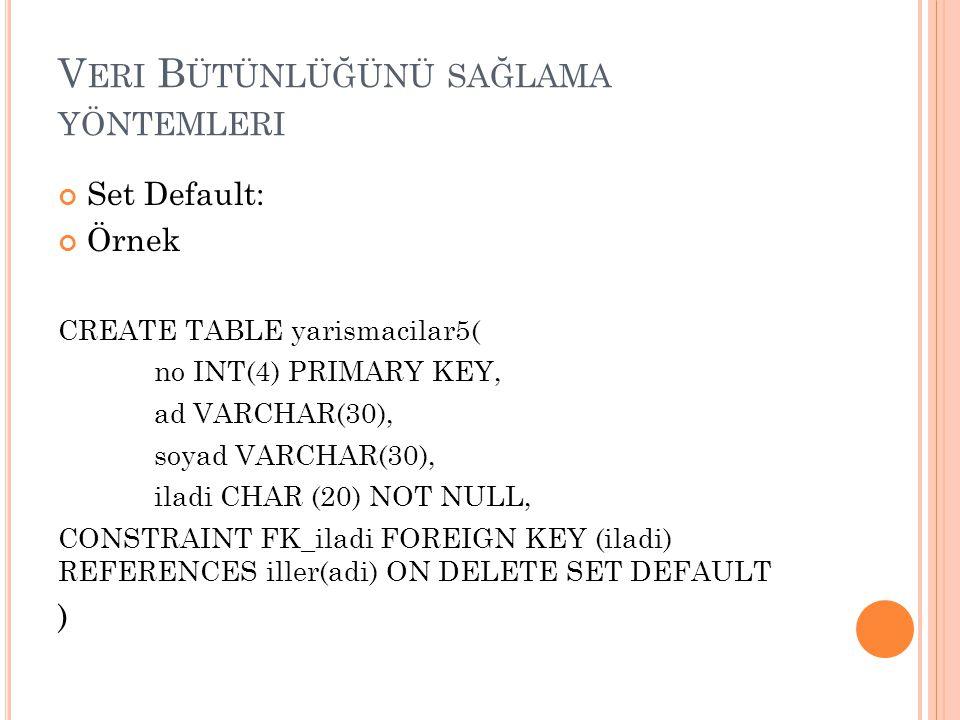V ERI B ÜTÜNLÜĞÜNÜ SAĞLAMA YÖNTEMLERI Set Default: Örnek CREATE TABLE yarismacilar5( no INT(4) PRIMARY KEY, ad VARCHAR(30), soyad VARCHAR(30), iladi C