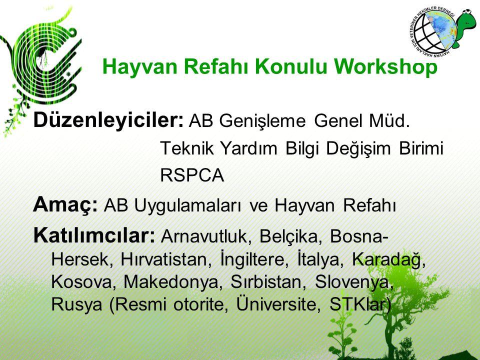 Hayvan Refahı Konulu Workshop Düzenleyiciler: AB Genişleme Genel Müd. Teknik Yardım Bilgi Değişim Birimi RSPCA Amaç: AB Uygulamaları ve Hayvan Refahı