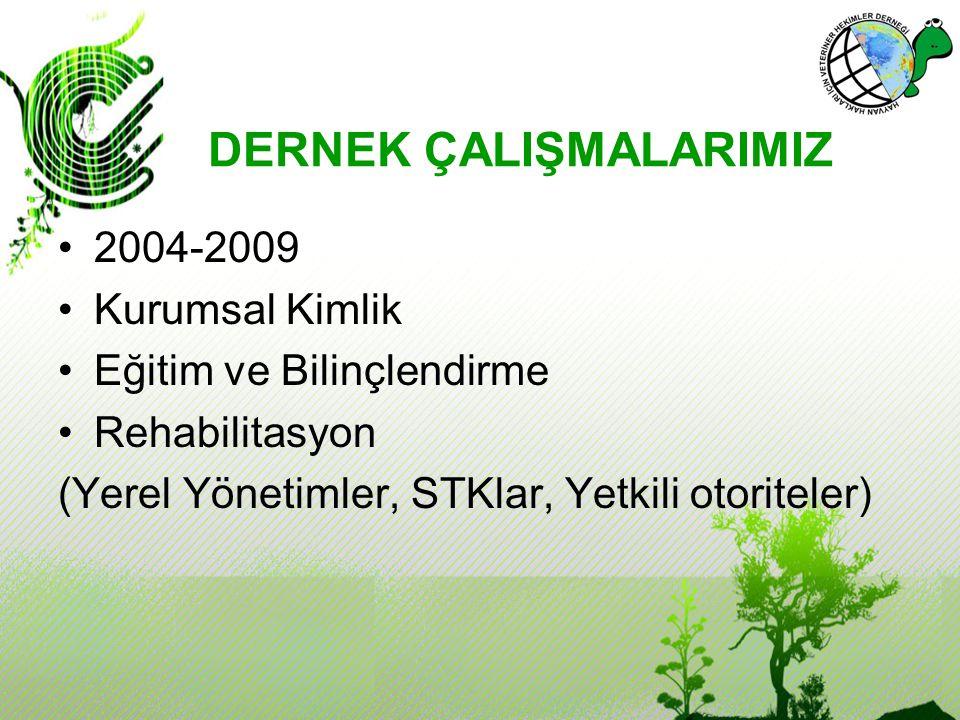 DERNEK ÇALIŞMALARIMIZ 2004-2009 Kurumsal Kimlik Eğitim ve Bilinçlendirme Rehabilitasyon (Yerel Yönetimler, STKlar, Yetkili otoriteler)