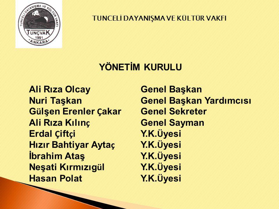 TUNCELİ DAYANIŞMA VE KÜLTÜR VAKFI VAKIF ÜYELERİ Tunceli Dayanışma ve Kültür Vakfı'na kuruluşundan günümüze kadar 193 hemşerimiz üye olmuştur.