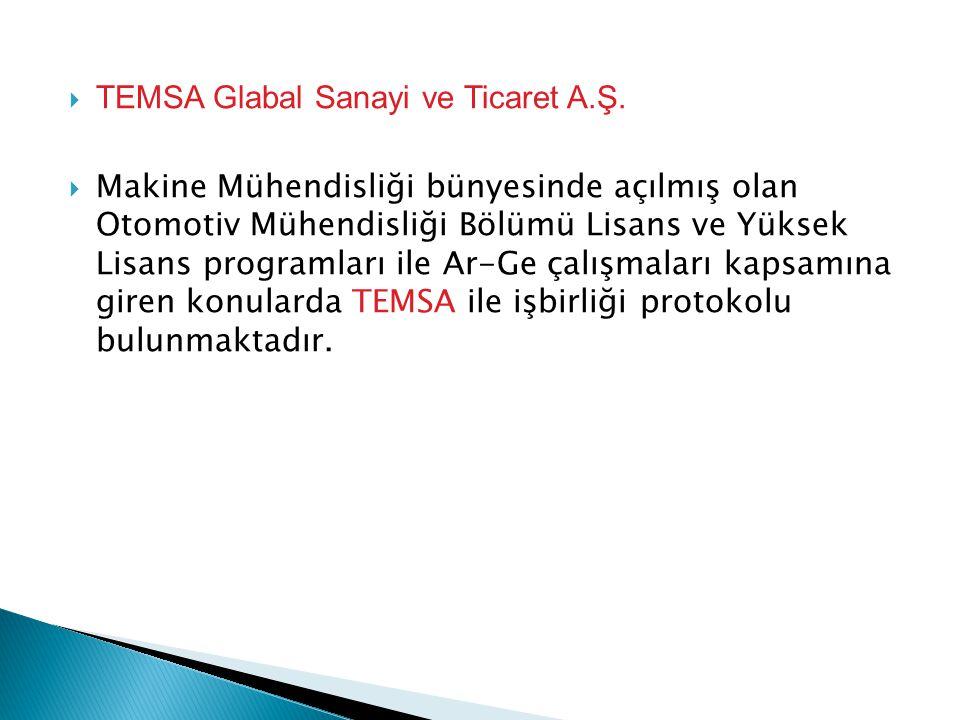  TEMSA Glabal Sanayi ve Ticaret A.Ş.  Makine Mühendisliği bünyesinde açılmış olan Otomotiv Mühendisliği Bölümü Lisans ve Yüksek Lisans programları i