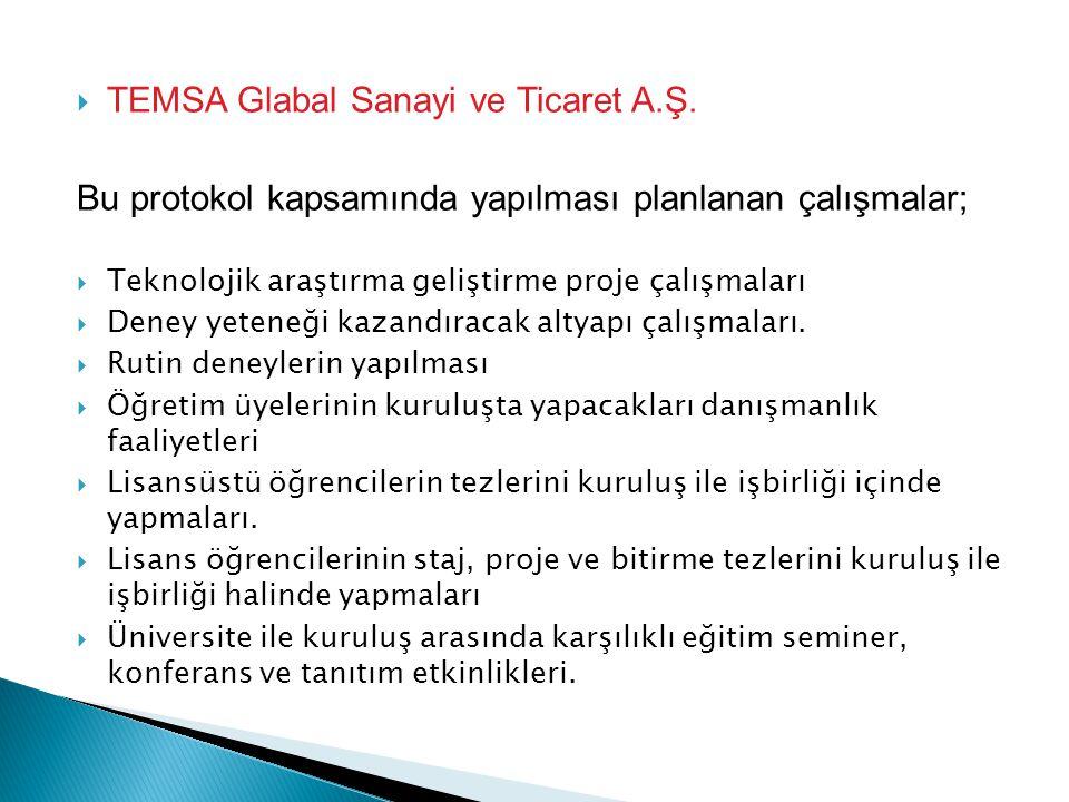  TEMSA Glabal Sanayi ve Ticaret A.Ş. Bu protokol kapsamında yapılması planlanan çalışmalar;  Teknolojik araştırma geliştirme proje çalışmaları  Den