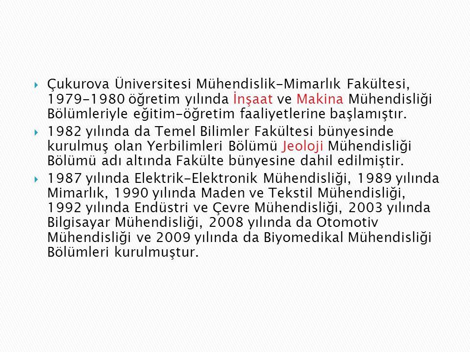  Çukurova Üniversitesi Mühendislik-Mimarlık Fakültesi, 1979-1980 öğretim yılında İnşaat ve Makina Mühendisliği Bölümleriyle eğitim-öğretim faaliyetle