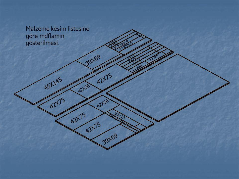 45X145 39X69 42X75 39X69 9,5X56,6 7X65 42X36 7X65 11X56,6 7X75 11X40 7X75 36X6,5 11X40 36X6,5 65X13 Malzeme kesim listesine göre mdflamın gösterilmesi