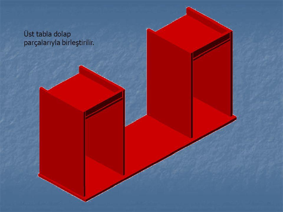 Üst tabla dolap parçalarıyla birleştirilir.