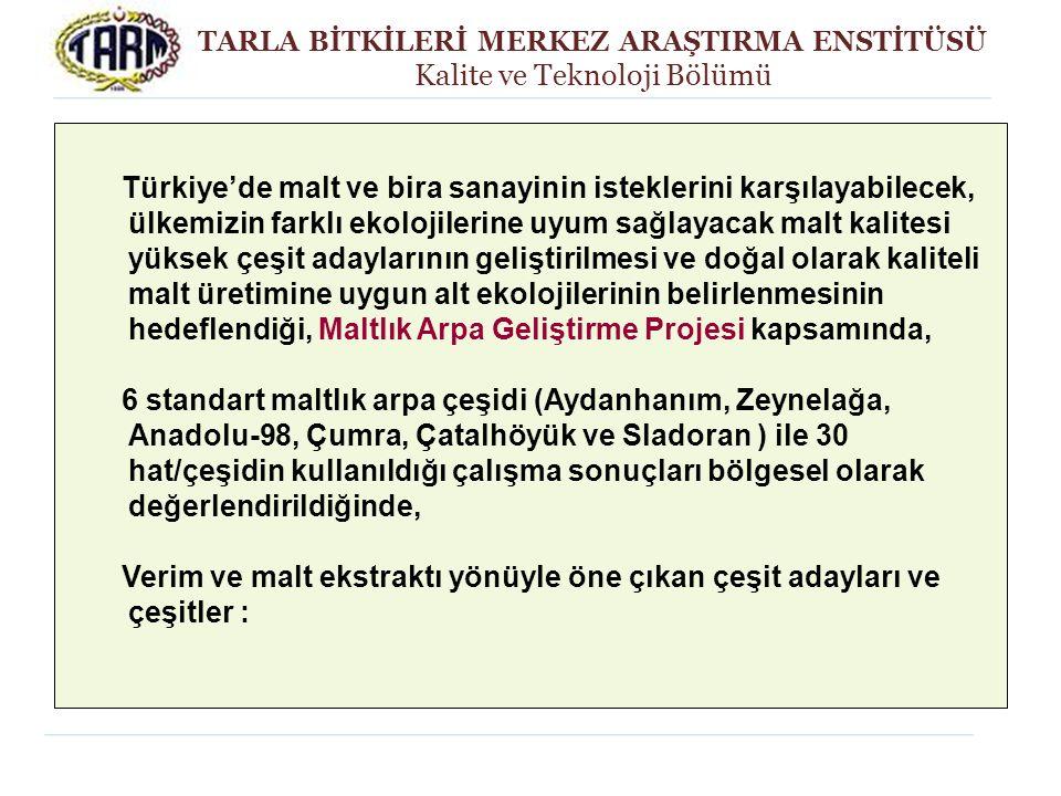 TARLA BİTKİLERİ MERKEZ ARAŞTIRMA ENSTİTÜSÜ Kalite ve Teknoloji Bölümü Türkiye'de malt ve bira sanayinin isteklerini karşılayabilecek, ülkemizin farklı